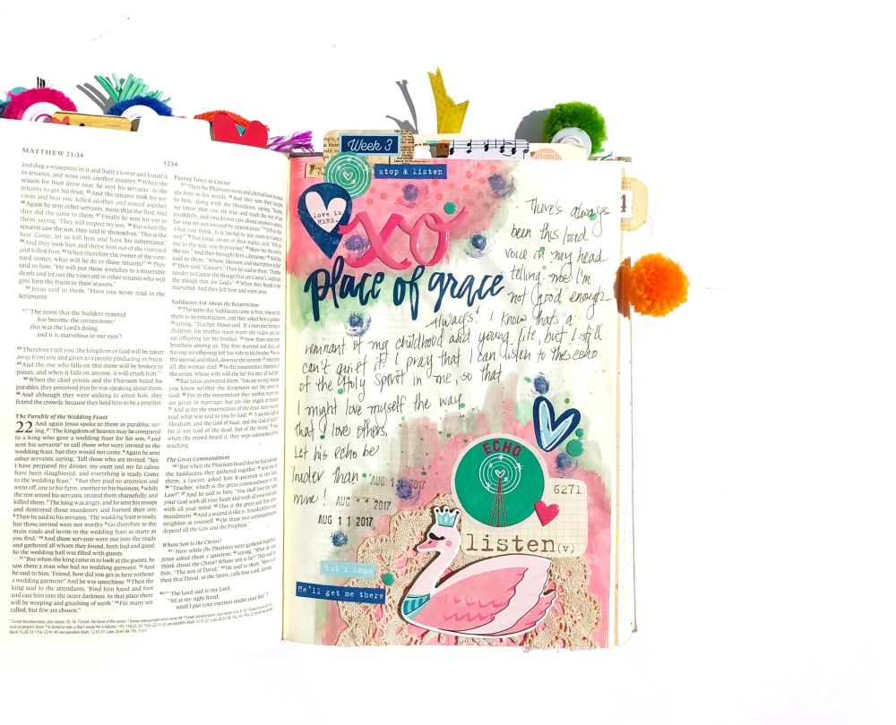 Place of Grace Bible Journaling Page using Maggie Holmes Carousel