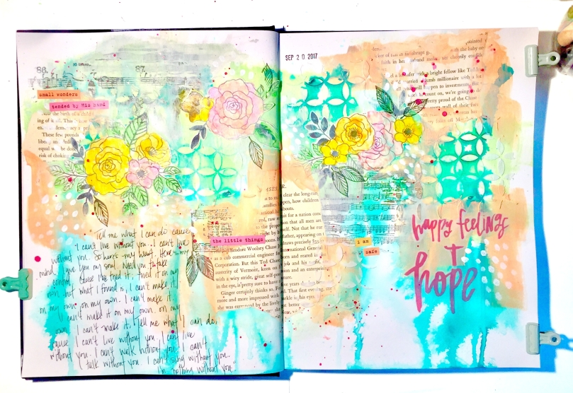 Happy Feelings & Hope Art Journal Page using Maggie Holmes Carousel Florals - Lydia Cost