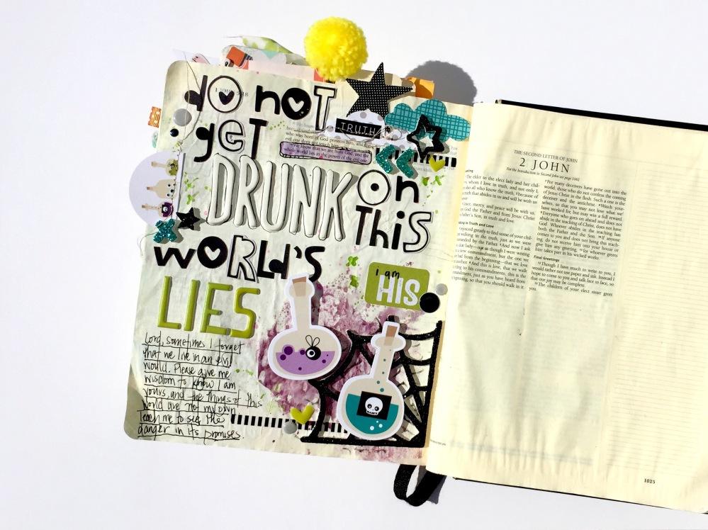 World Lies Halloween Bible Journaling Illustrated Faith