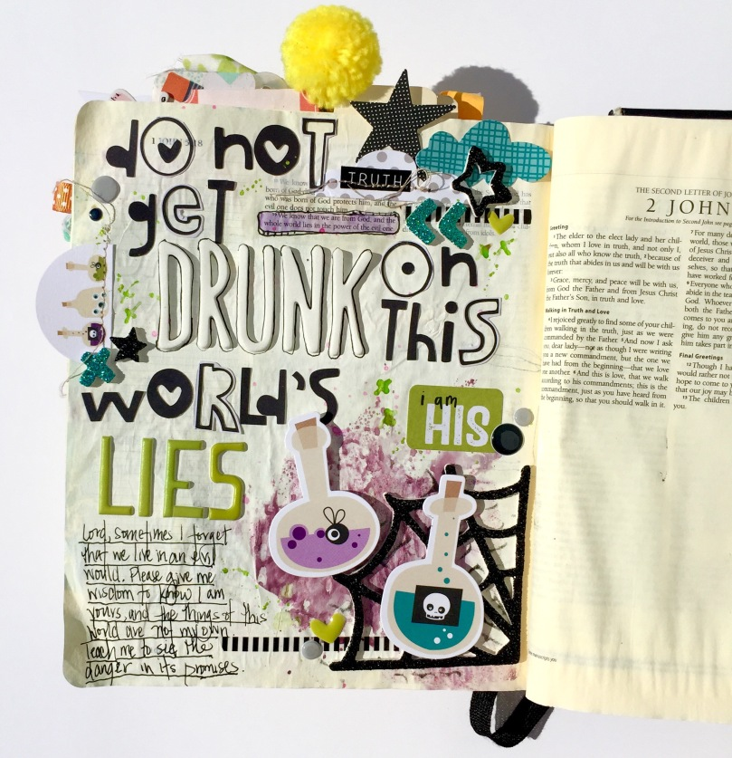 World Lies Halloween Bible Journaling Illustrated Faith