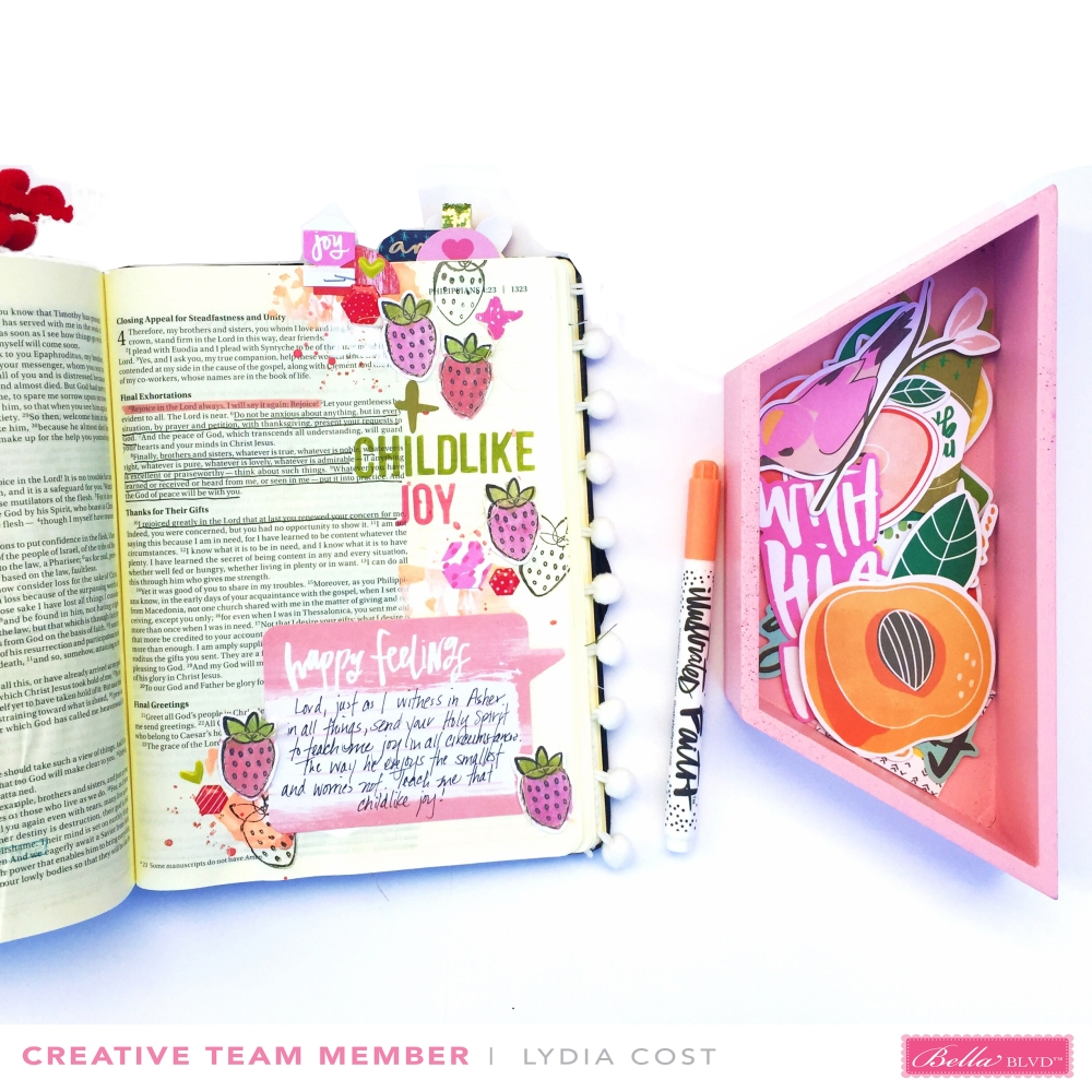 Childlike Joy Bible Journaling Page using Illustrated Faith Fruit of the Spirit Collection