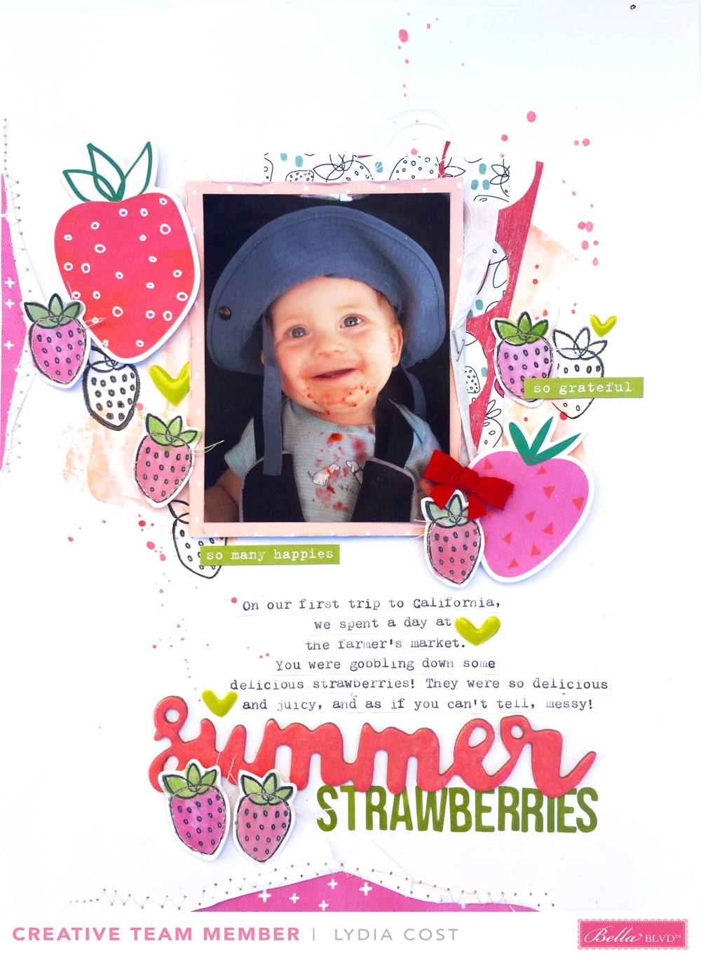 Summer Strawerries Scrapbook Layout using Illustrated Faith Fruit of the Spirit Collection