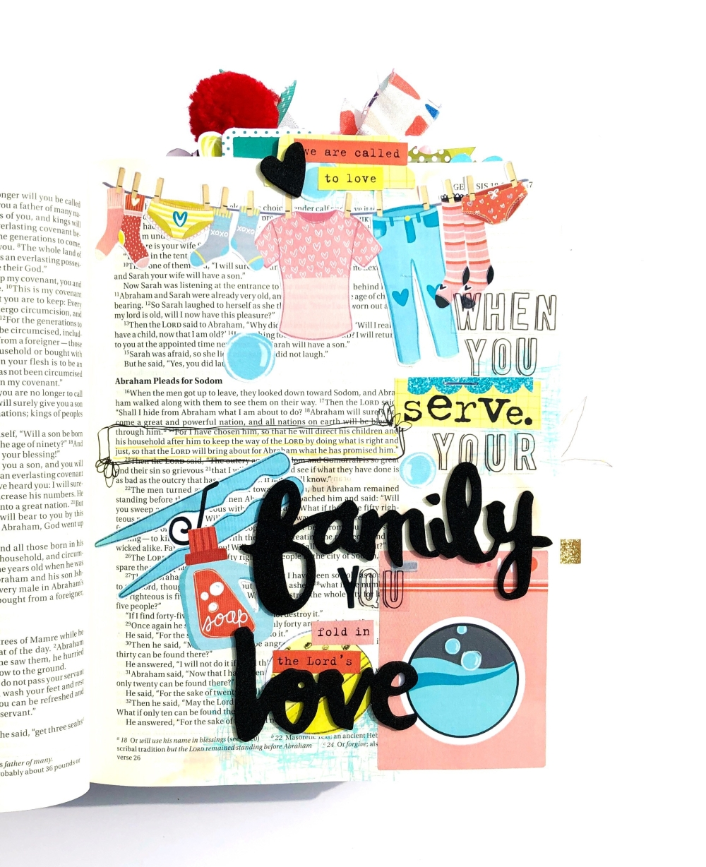 Serve Your Family Bible Journaling Page using Elaine Davis Printables
