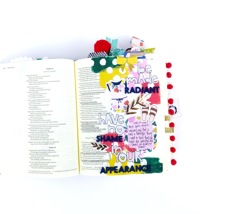 Be Made Radiant Bible Journaling Page using Paige Evans Pick Me Up