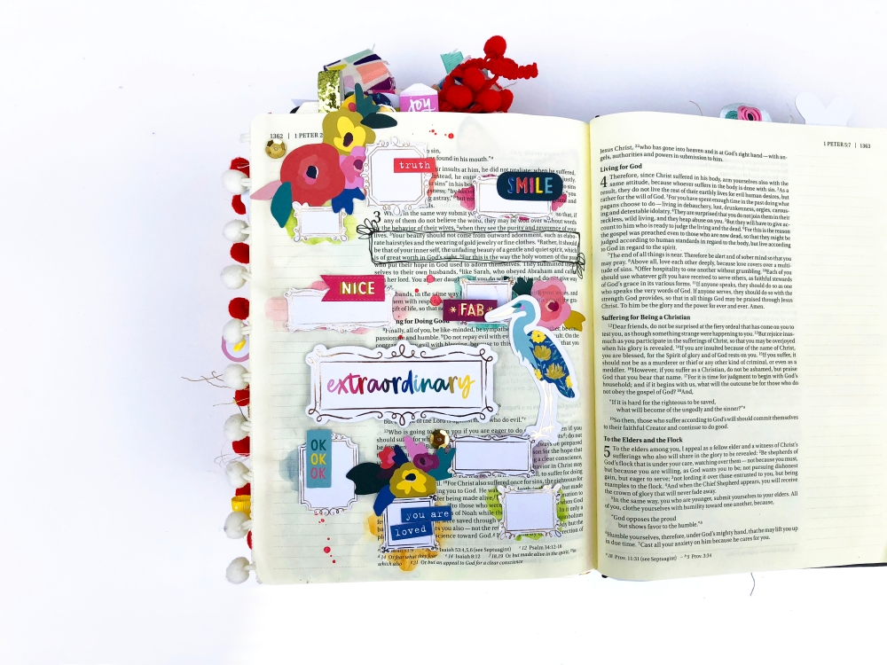 You are Extraordinary Bible Journaling Page using Paige Evans Pick Me Up