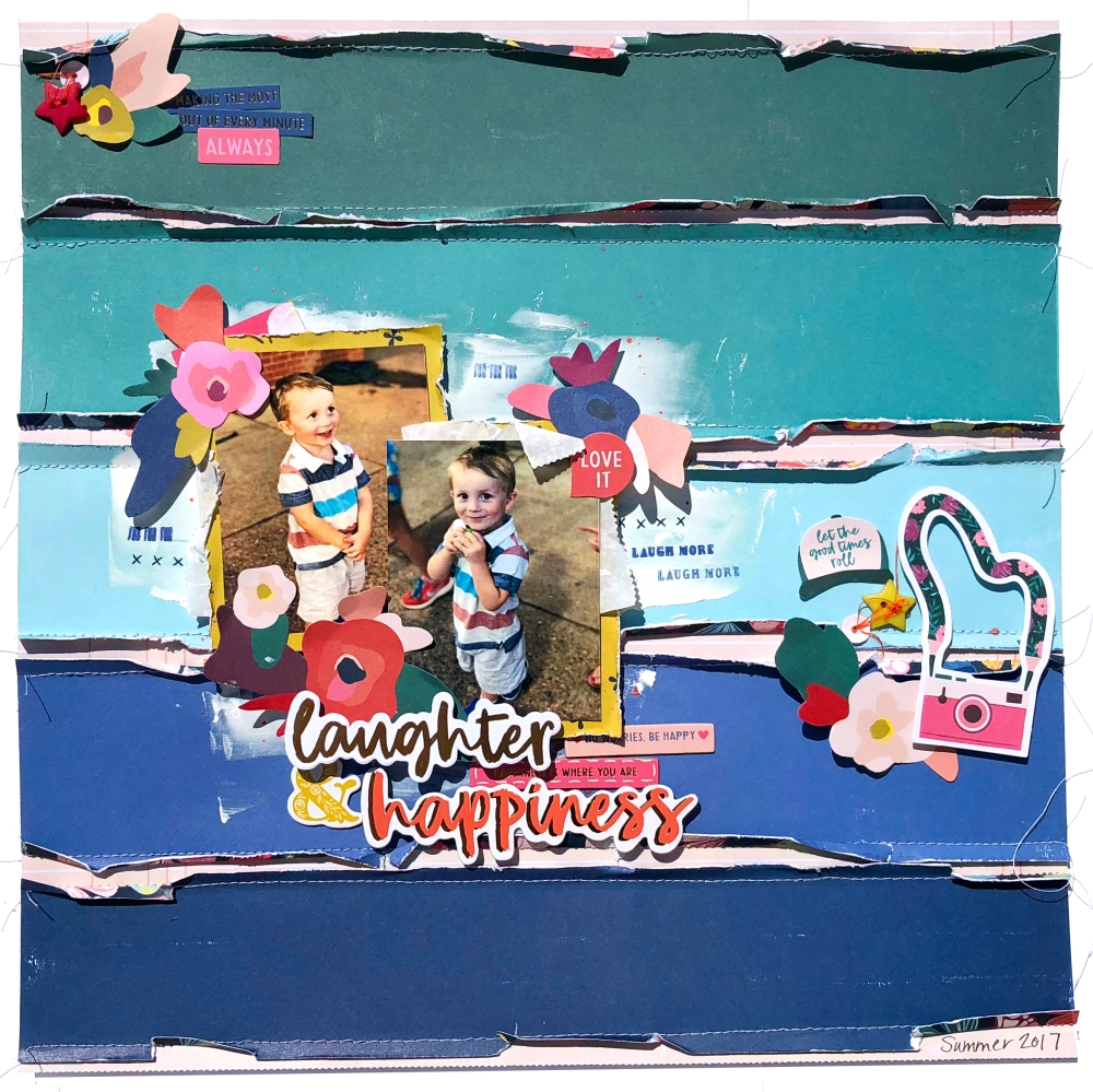 Laughter & Happiness Scrapbook Layout using Paige Evans Pick Me Up