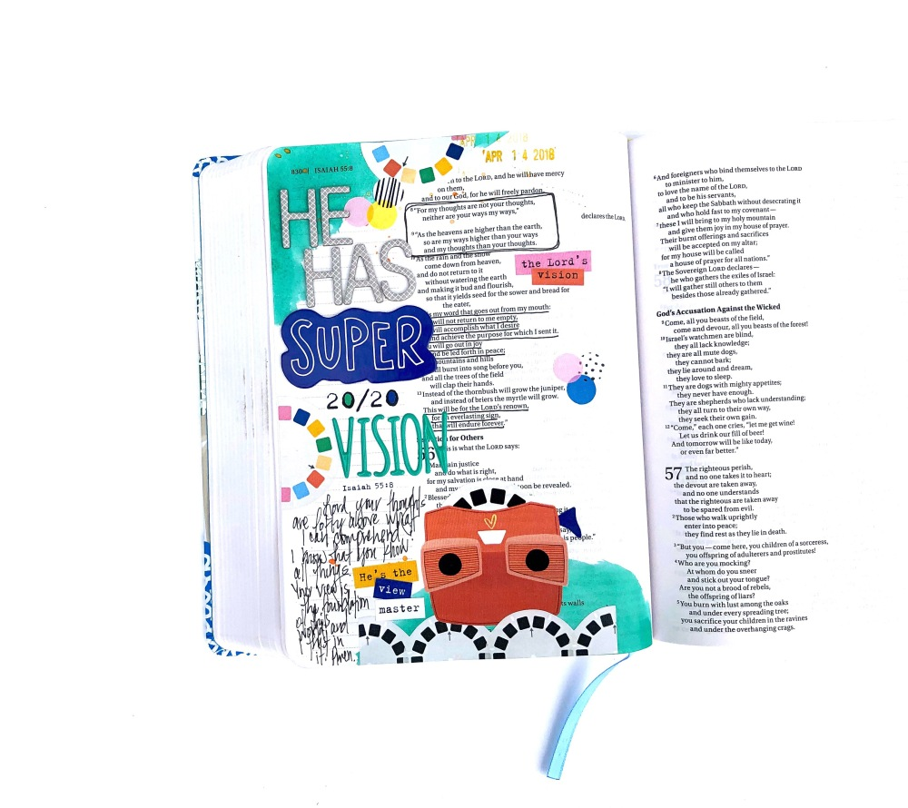 Super 20/20 Vision Bible journaling page using Elaine Davis digital designs