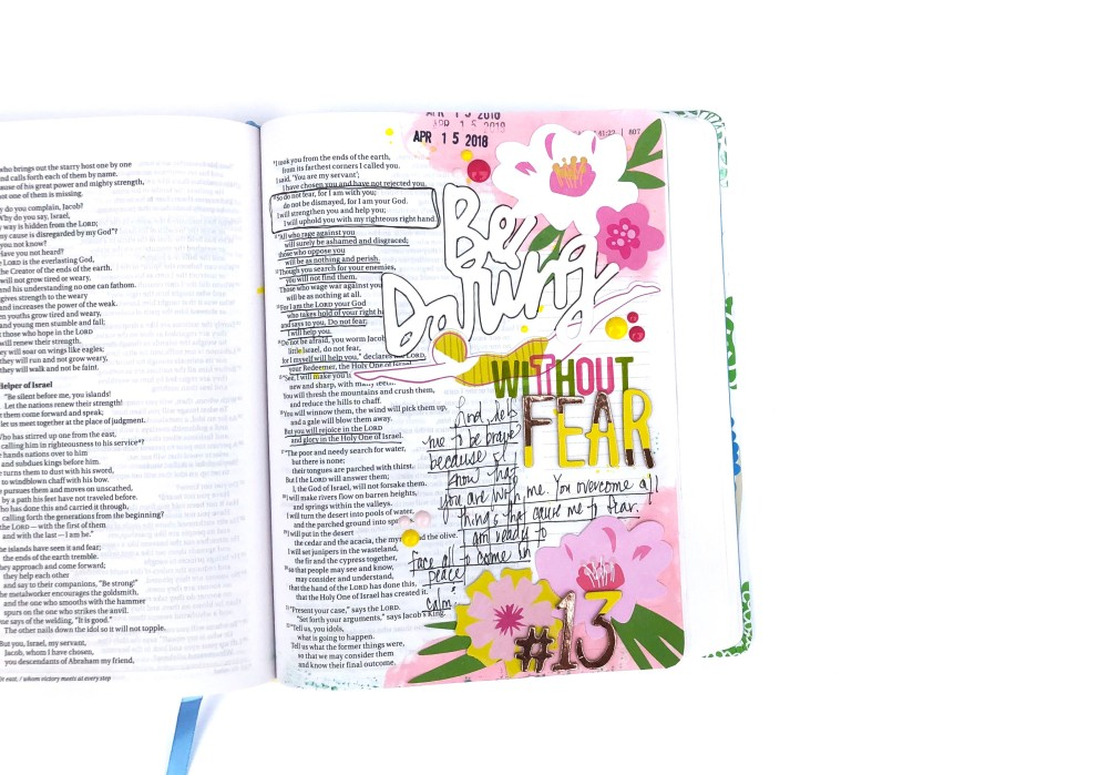 Be Daring Without Fear Bible Journaling Page using Bella Blvd Island Excape & Dear Lizzy Happy Place