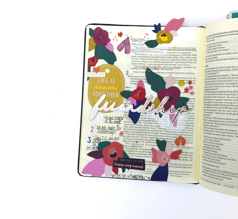 Friendship Bible Journaling Page using Paige Evans Pick Me Up - Lydia Cost