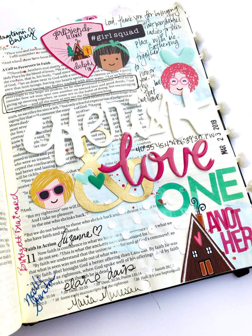 Cherish and Love One Another Bible Journaling Page