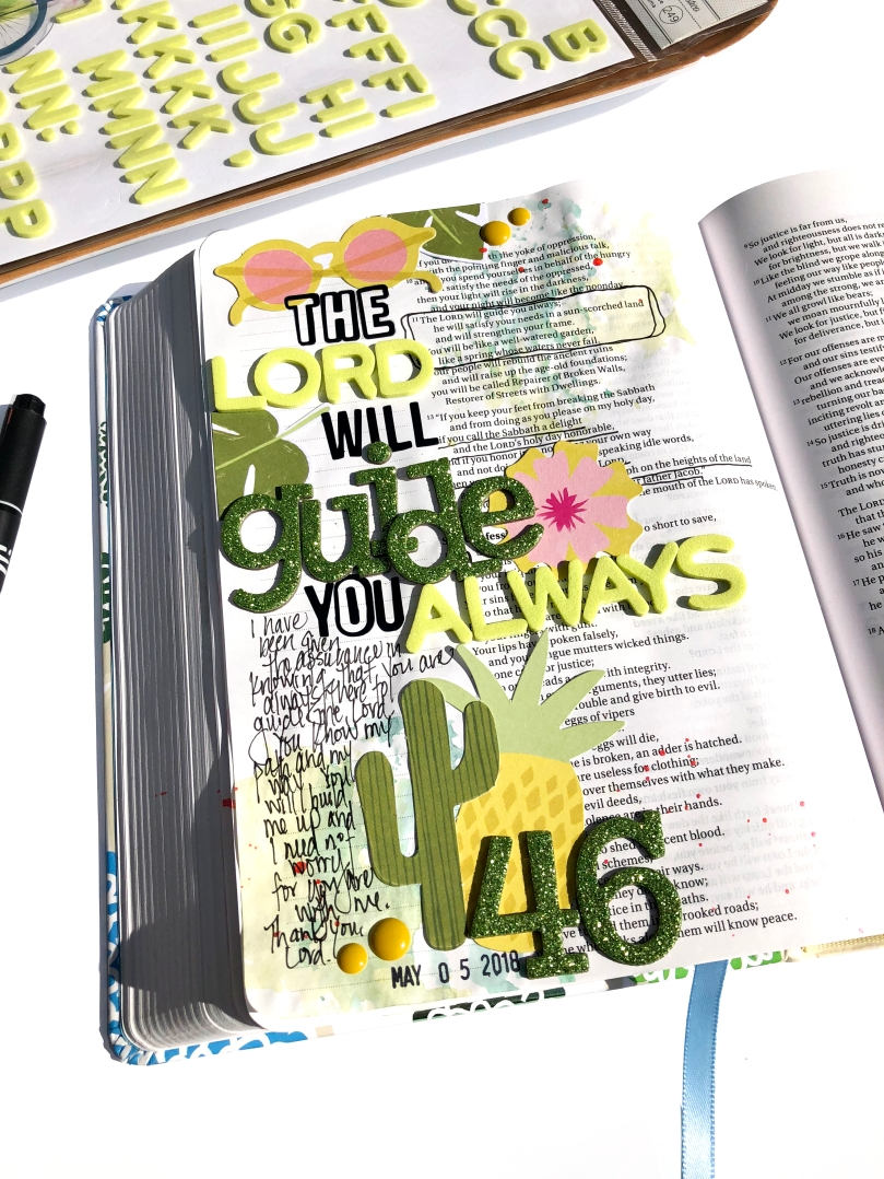 Bible Journaling Page using Dear Lizzy Happy Place - 100 Days of Bible Promises