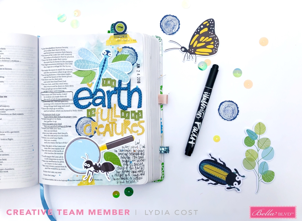 Bible Journaling using Bella Blvd Bug Explorer - Lydia Cost