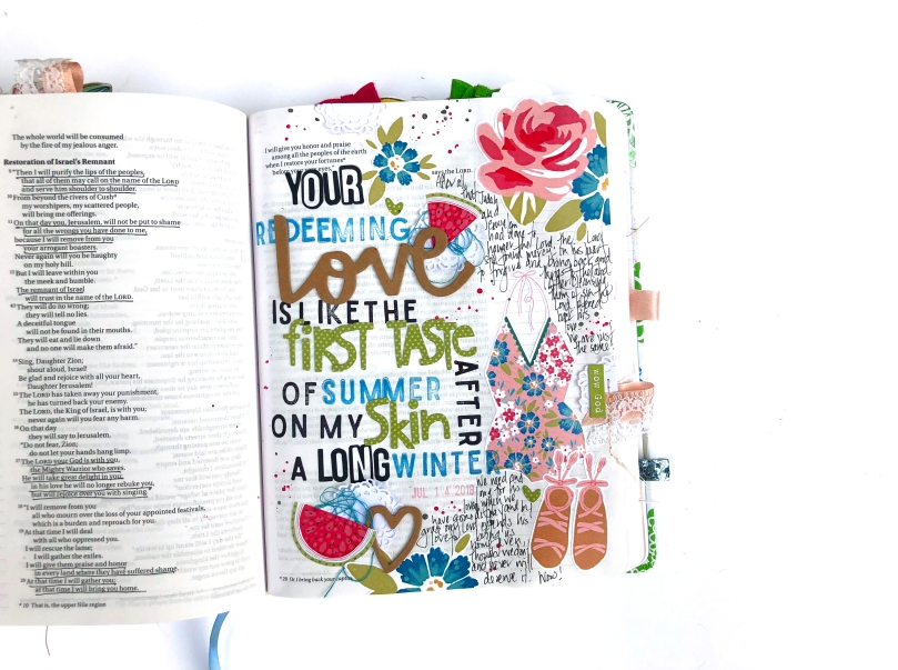 Your Redeeming Love Bible Journaling Page using Print and Pray Shop Elements