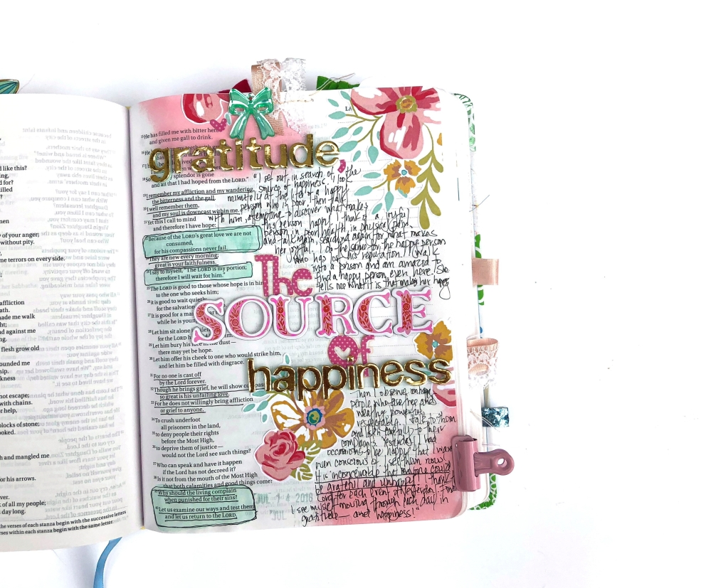 Gratitude, The Source of Happiness Bible Journaling Page - Lydia Cost