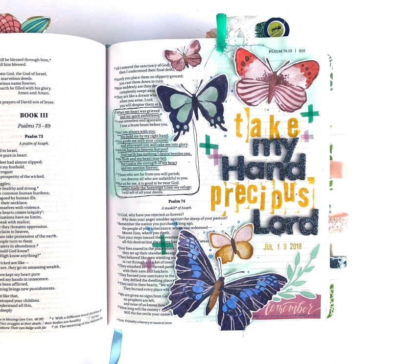 Take My Hand Precious Lord Bible Journaling Page using American Crafts Wildflower - Lydia Cost