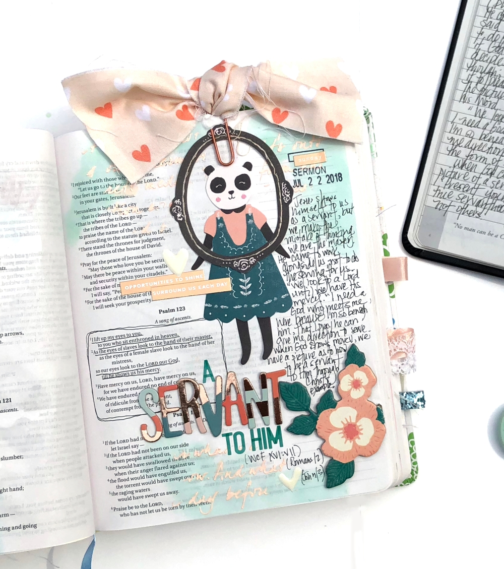 A Servant to Him Bible Journaling Page using Maggie Holmes Willow Lane - Lydia Cost