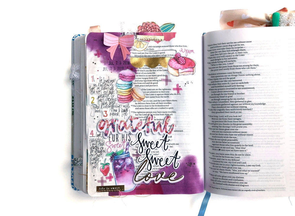 Sweet Sweet Love Bible Journaling page using Magmagandme July 2018 kit and Paige Evans Pick Me Up
