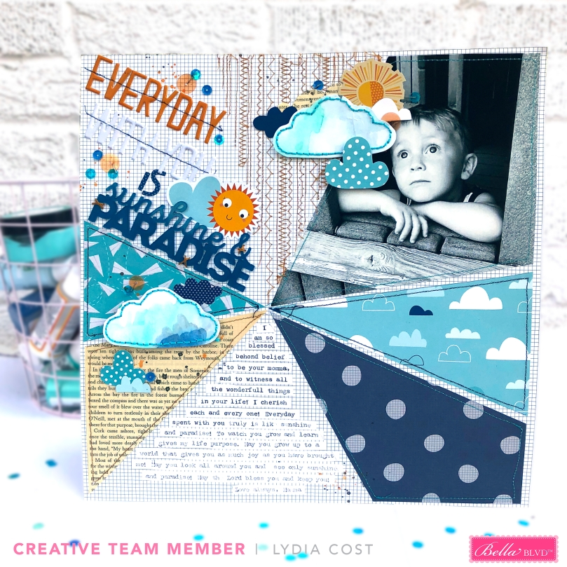 Everyday With You is Sunshine and Paradise 12x12 Layout using Bella Blvd Acrylic Words - Lydia Cost