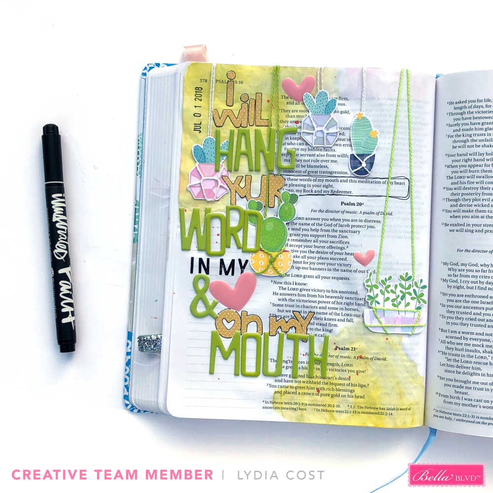 Creating Big Titles in Your Bible Journaling with Bella Blvd Mom Life & Wonky Alphas - Lydia Cost