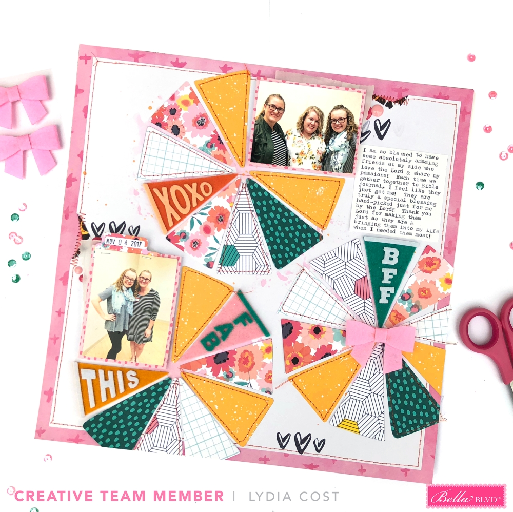 The Best Friend is a Friend That Bible Journals 12x12 Scrapbook Layout using Bella Blvd Pennants & Papers - Lydia Cost