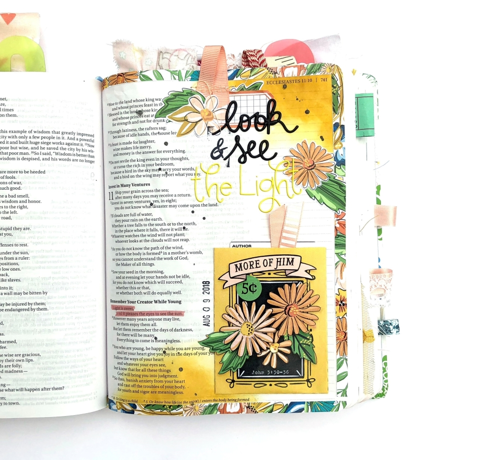 Look and See the Light Bible Journaling Page using Elaine Davis Digital Set - Lydia Cost