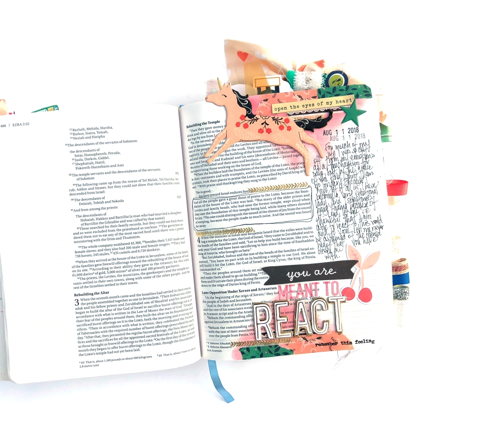 We are Meant to React Bible Journaling Page using Maggie Holmes Willow Lane - Lydia Cost