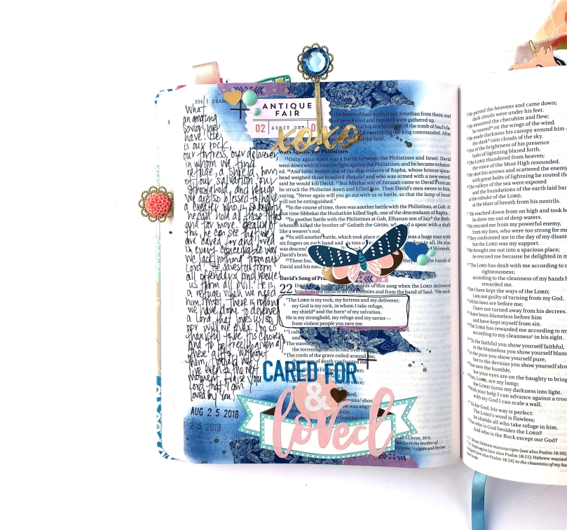 Cared For and Loved Bible Journaling Page using Maggie Holmes collections - Lydia Cost