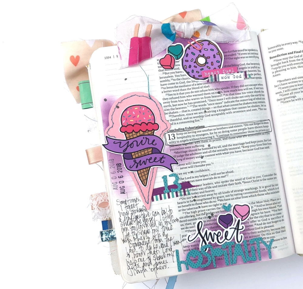 Sweet Hospitality Bible Journaling Page using Magnolia Magenta July 2018 Kit - Lydia Cost