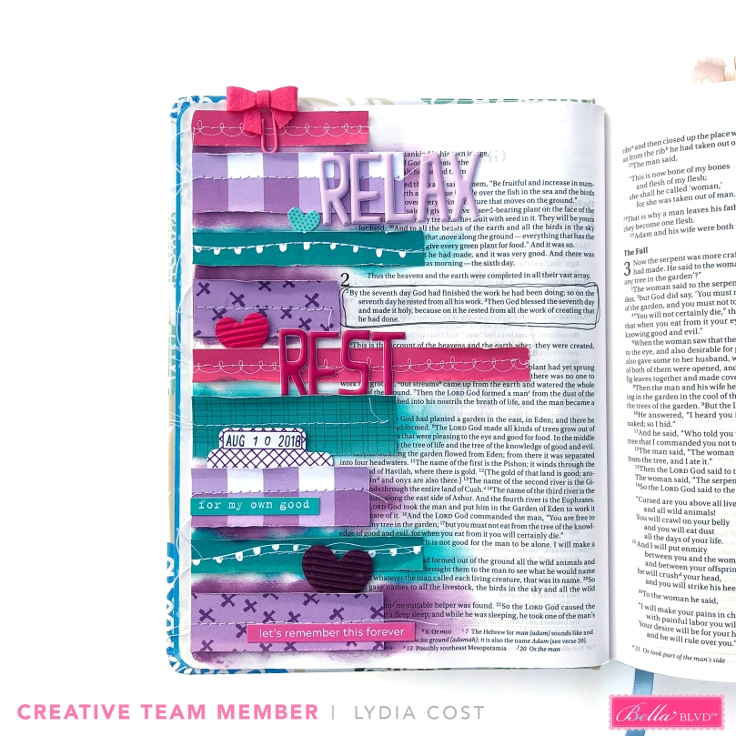 National Day of Relaxation Bible Journaling Page using Bella Blvd Summer 2018 New Collections - Lydia Cost