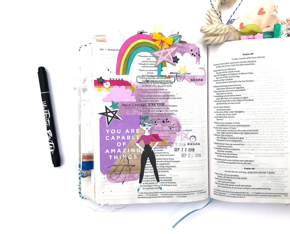 You Are Capable of Amazing Things Bible Journaling Page using Shimelle Glitter Girl - Lydia Cost