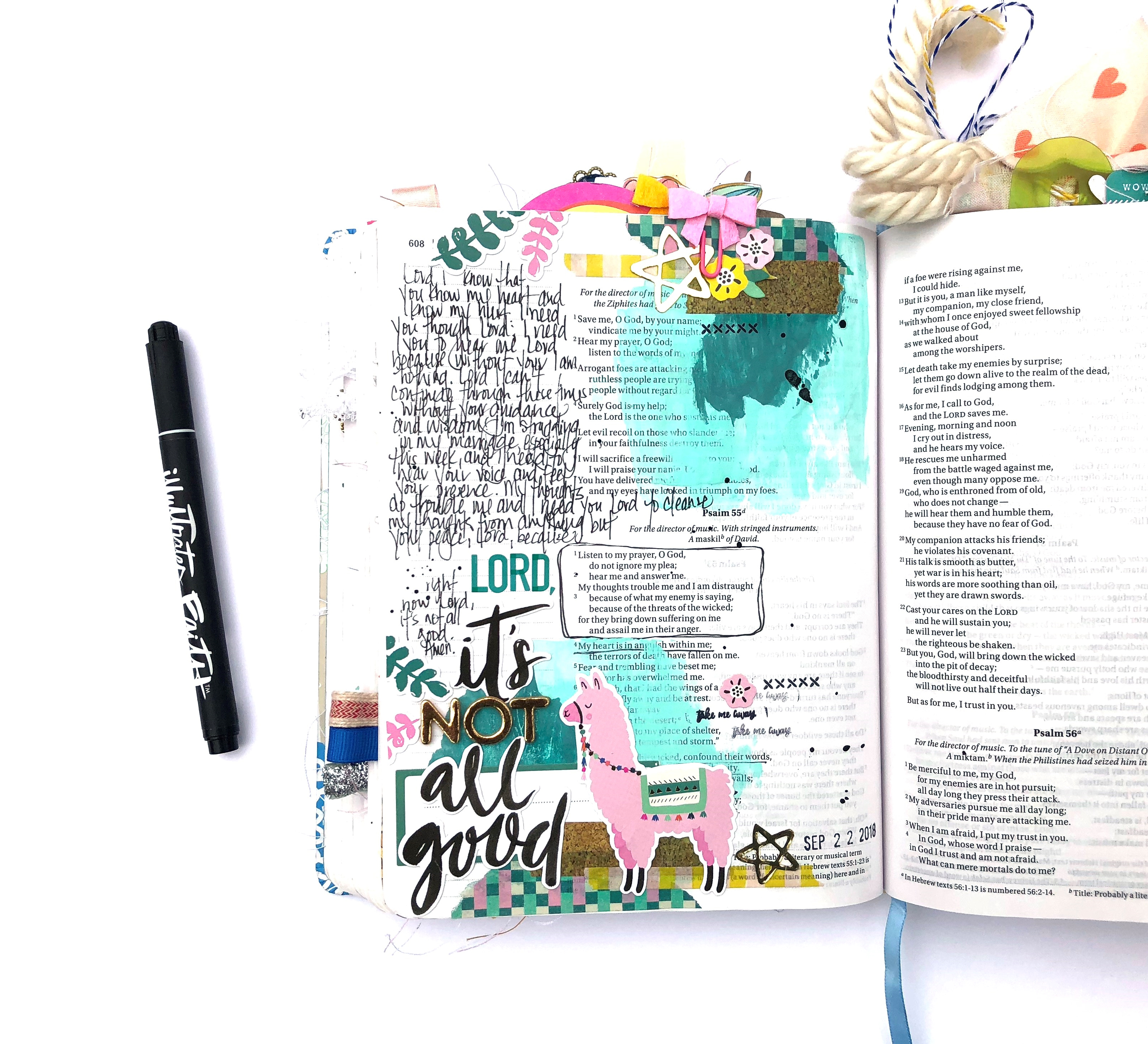 Lord, It's Not All Good Bible Journaling Page using Crate Paper Good Vibes Collection - Lydia Cost