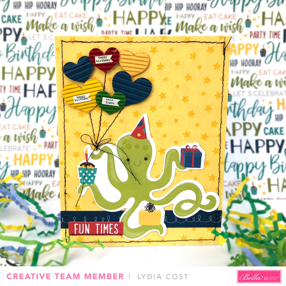 Birthday Card using Bella Blvd Heart Hugs & Wish Big Boy Collection - Lydia Cost