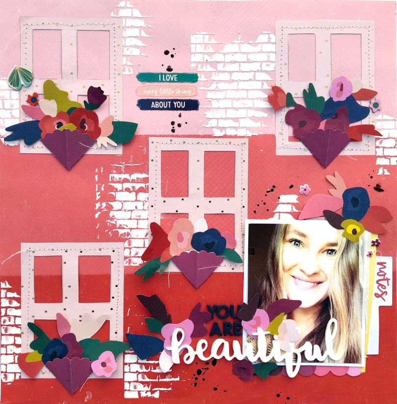 You Are Beautiful 12x12 Layout using Paige Taylor Evans Pick Me Up Collection - Lydia Cost