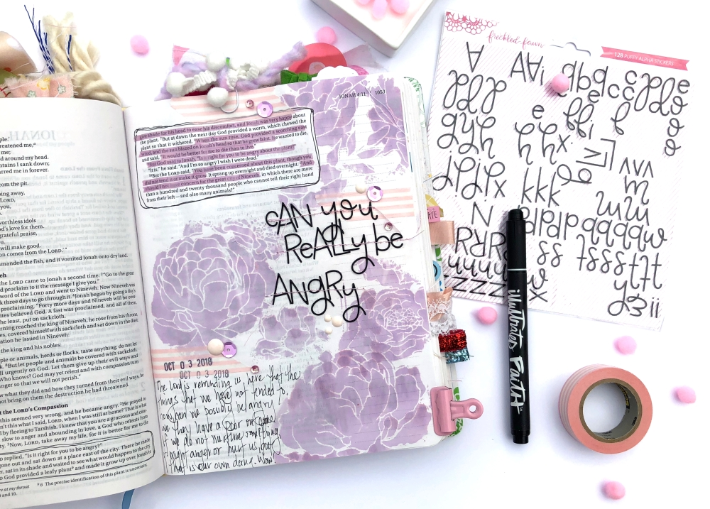 Can You Really Be Angry Bible Journaling Page using Heidi Swapp Floral Art Screen and Freckled Fawn Script Alpha Stickers - Lydia Cost