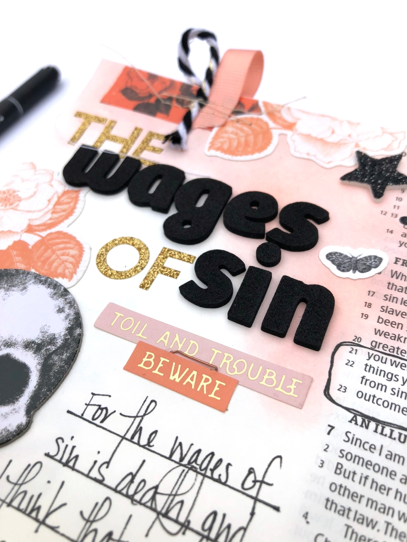 The Wages of Sin Bible Journaling Page using Pink Paislee Spellcast - Lydia Cost