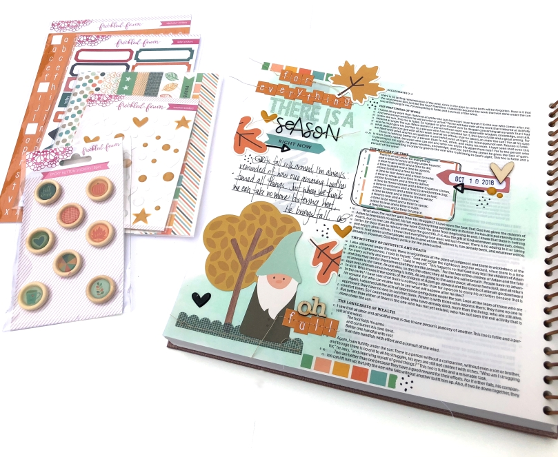 For Everything There is a Season Bible Journaling Page using Freckled Fawn Oct 2018 Bundle - Lydia Cost