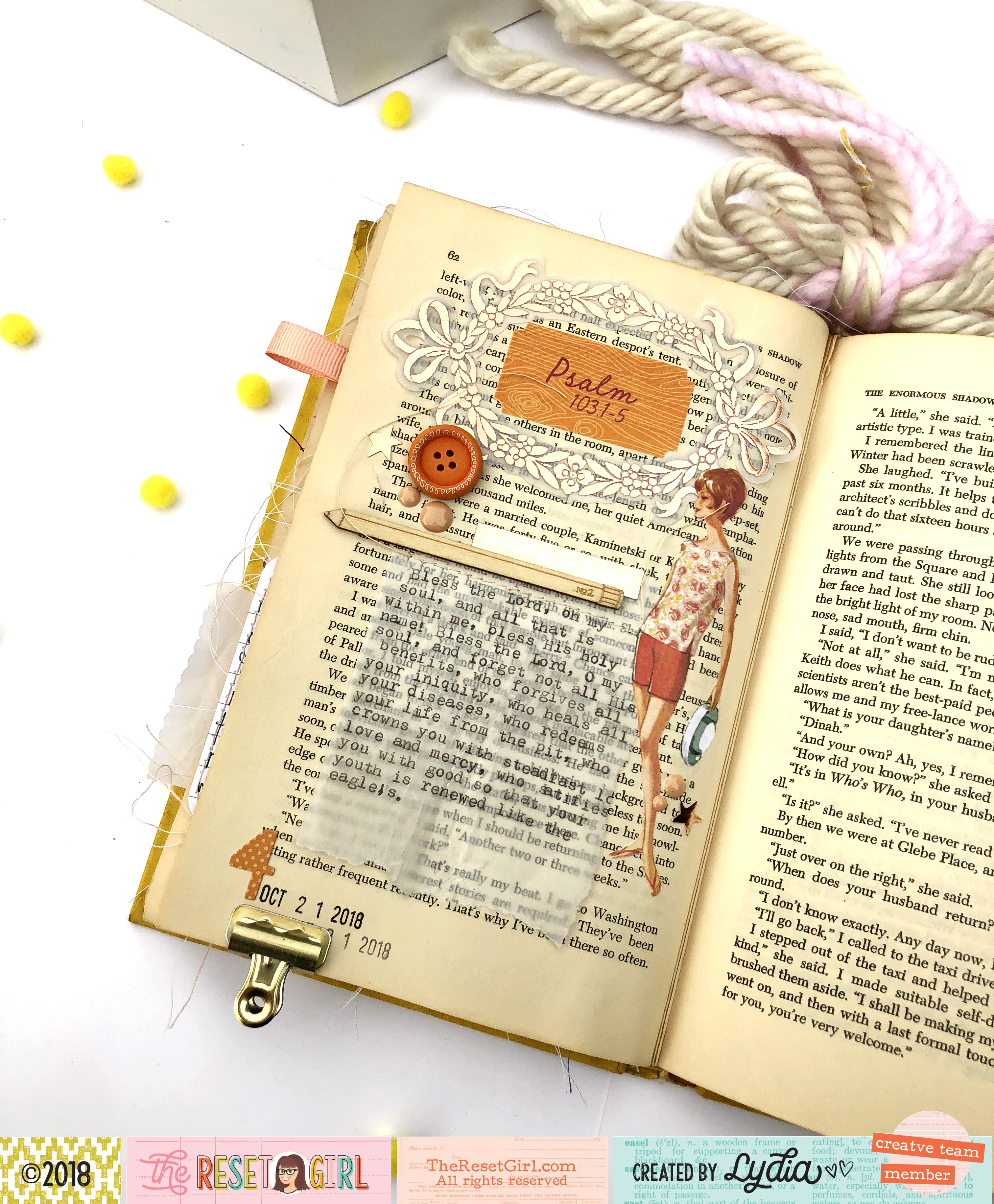 """The Reset Girl  October 2018 Faithful Life Challenge Altered Book using """"The Little Things"""" Collection - Lydia Cost"""