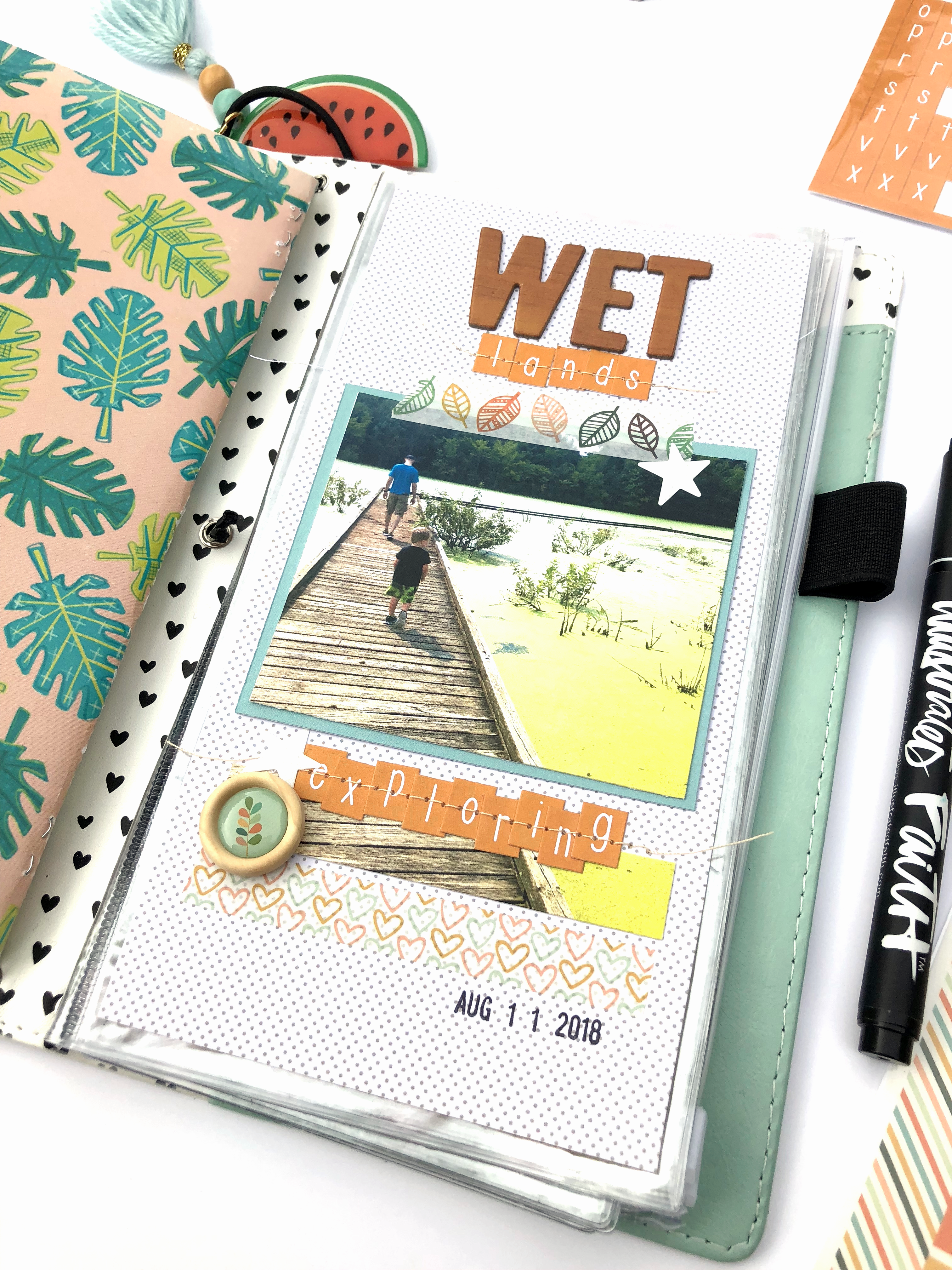 Travelers Notebook Spread using Freckled Fawn October 2018 Bundle - Lydia Cost