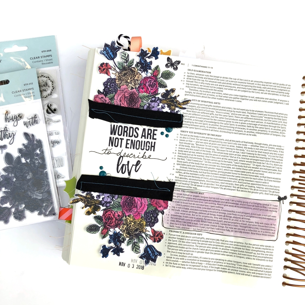 Bible Journaling Page using Spellbinders Floral Love & Words Are Not Enough Stamps - Lydia Cost