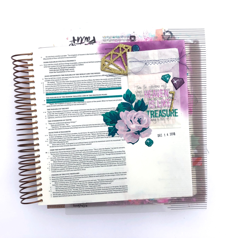 Heaven is Like Treasure Bible Journaling Page in the Illustrating Bible - Lydia Cost