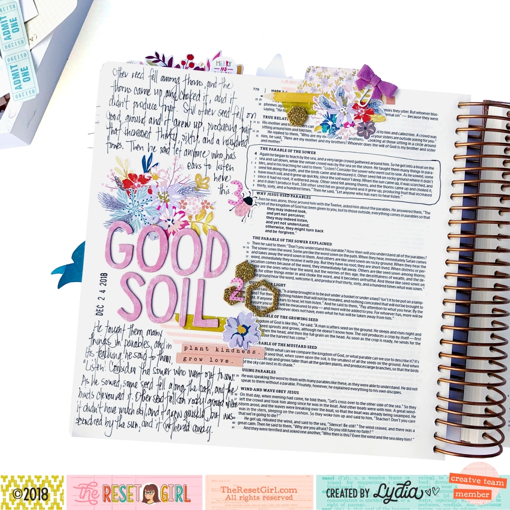 Good Soil Bible Journaling Page using The Reset Girl Focused Collection - Lydia Cost