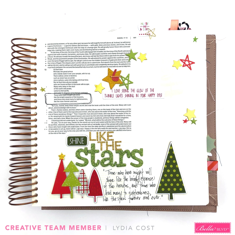 Shine Like the Stars Bible Journaling Page using Bella Blvd Merry Christmas Collection - Lydia Cost