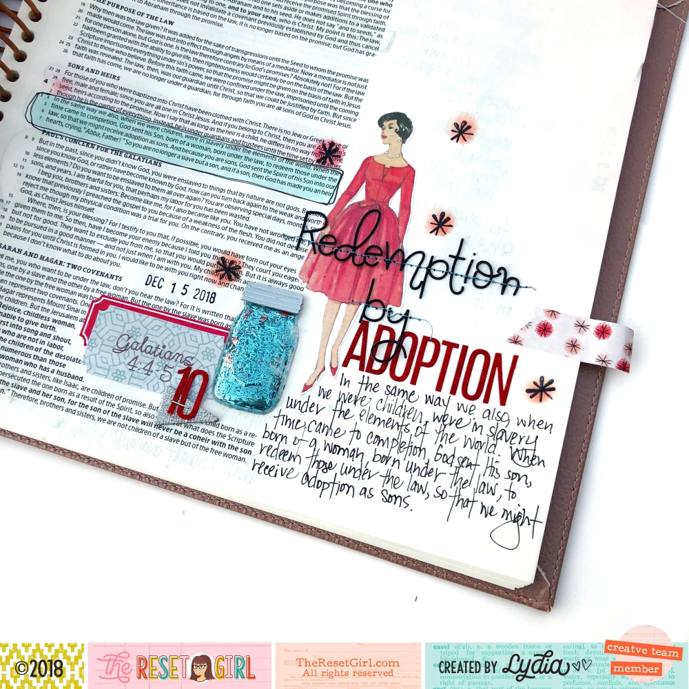 Redemption by Adoption Bible Journaling page using The Reset Girl Sparkle Collection - Lydia Cost