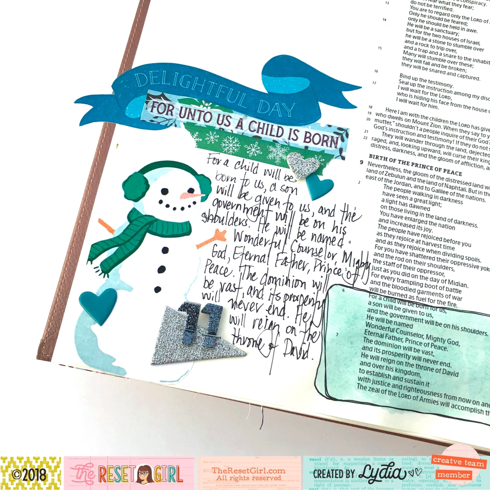 A Child is Born Bible Journaling Page using The Reset Girl Sparkle Collection, Crate Paper Fa La La, and Magge Holmes Carousel Stickers - Lydia Cost