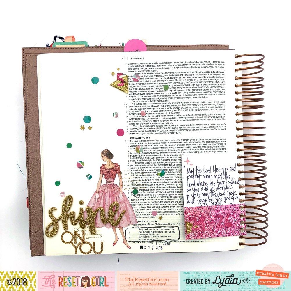 Shine On You Bible Journaling Page using The Reset Girl Sparkle Collection - Lydia Cost