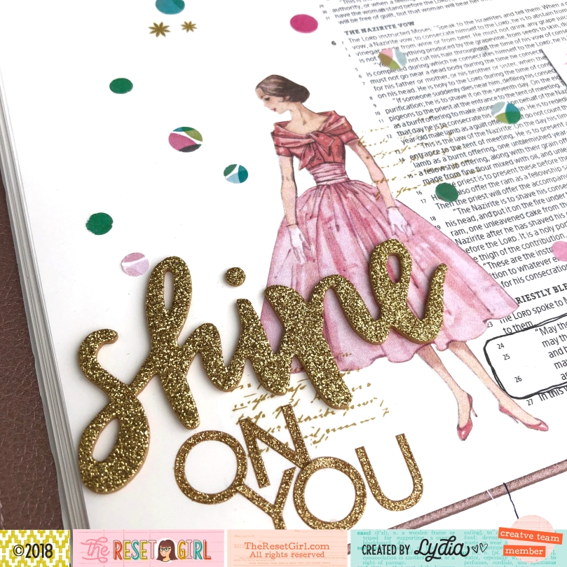 Shine On You Bible Journaling Page in the Illustrating Bible using The Reset Girl Sparkle Collection - Lydia Cost