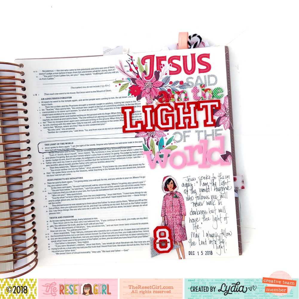 I Am the Light of the World Bible Journaling Page using The Reset Girl Sparkle Collection and Thickers - Lydia Cost