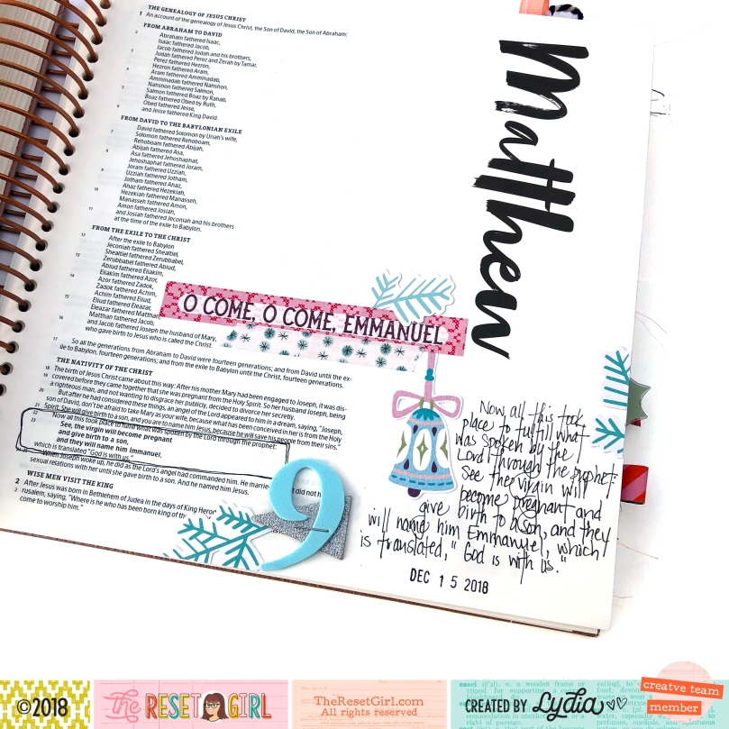 Come Emmanuel Bible Journaling Page using The Reset Girl Sparkle Collection - Lydia Cost