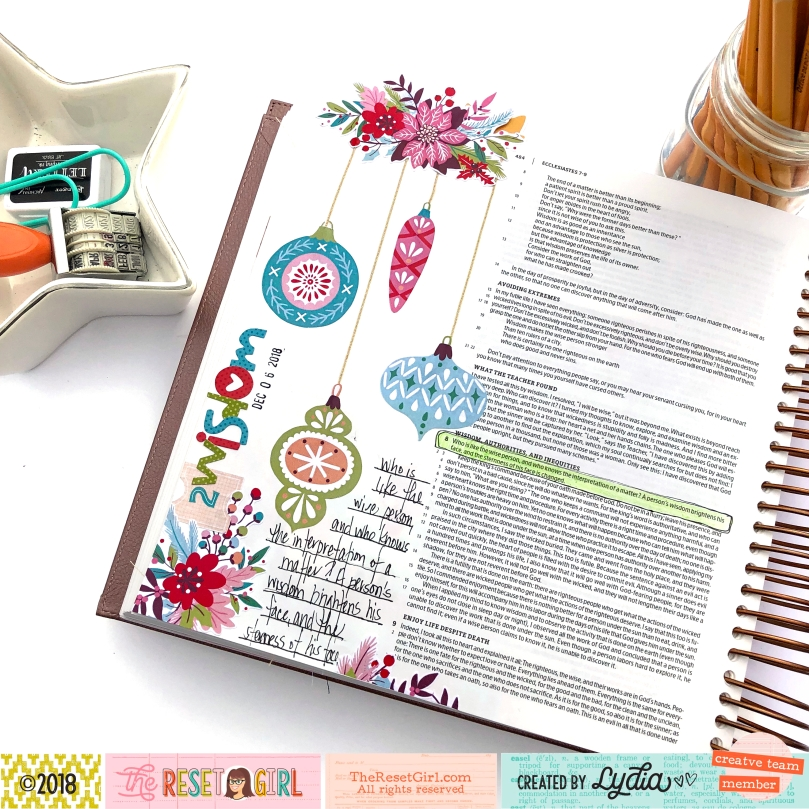 Wisdom Bible Journaling Page using The Reset Girl Sparkle Collection - Lydia Cost