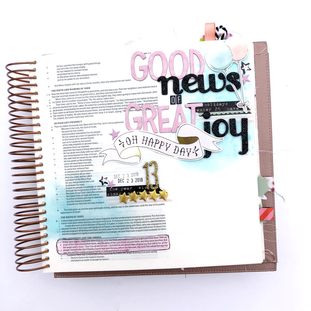 Good News of Great Joy Bible Journaling Page using Maggie Holmes Carousel Collection - Lydia Cost